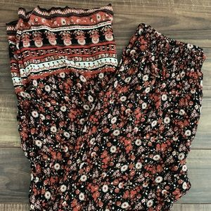 High-waisted Floral Palazzo Pants